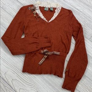Anthropologie HWR Monogram button lace sweater